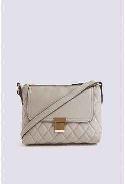 Grey Quilted Top Zip Cross Body