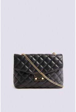 Black Quilted Chain Detail Shoulder Bag