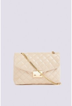 Cream Quilted Chain Detail Shoulder Bag