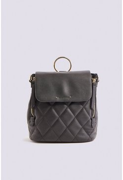 Black Quilted 2 Way Back Pack