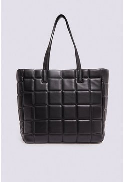 Black Geo Quilted Shopper