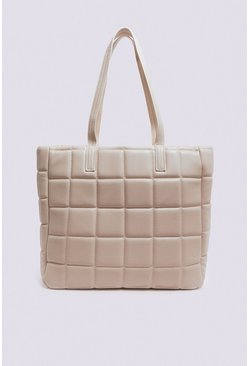 Cream Geo Quilted Shopper