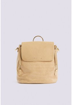 Cream Croc Effect 2 Way Back Pack