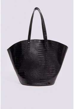 Black Croc Bucket Shopper
