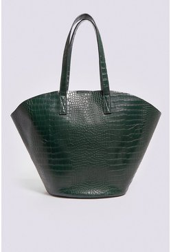 Green Croc Bucket Shopper