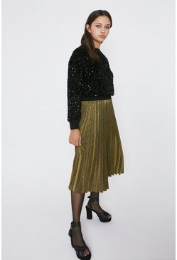 Gold Metallic Pleated Skirt