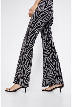 Silver Metallic Animal Flare Trousers