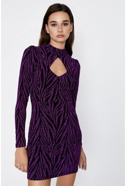 Purple Metallic Animal Cut Out Dress