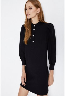 Black Diamante Button Crepe Shift Dress