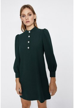 Green Diamante Button Crepe Shift Dress
