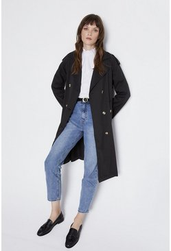 Black Lightweight Tie Waist Trench