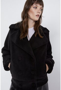 Black Short Double Breasted Borg Coat