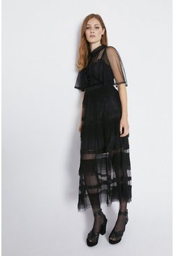 Black Tulle Tiered Midaxi Dress