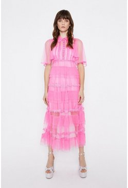 Bright pink Tulle Tiered Midaxi Dress