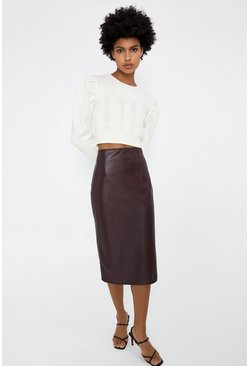 Berry Faux Leather Pencil Skirt