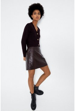 Berry Croc Seamed Pelmet Skirt