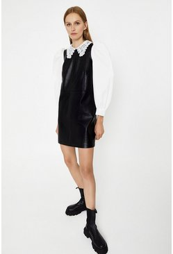 Black Croc Faux Leather Shift Dress