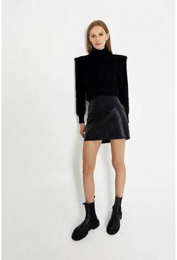 Black Croc Pelmet Skirt