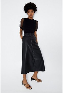 Black Button Through Faux Leather Midi Skirt