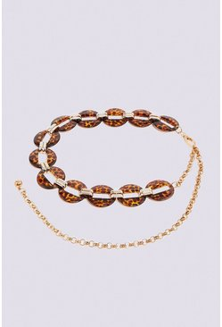 Brown Tortoiseshell Chain Belt