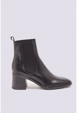 Black Leather Pull On Ankle Boot