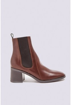 Brown Leather Pull On Ankle Boot