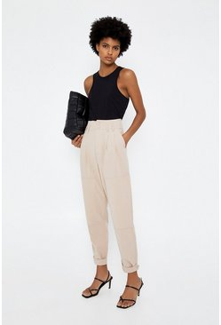 Beige Casual Pleat Front Trouser