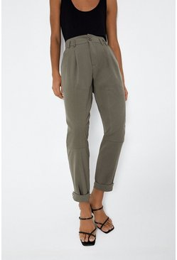 Khaki Casual Pleat Front Trouser