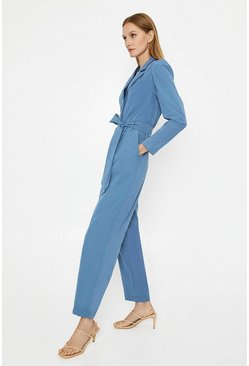 Blue Puff Sleeve Belted Jumpsuit