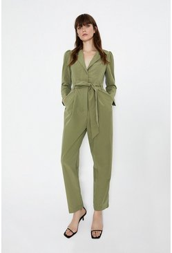 Khaki Puff Sleeve Belted Jumpsuit