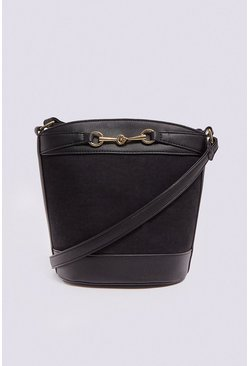 Black Chain Detail Bucket Cross Body