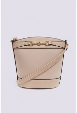 Cream Chain Detail Bucket Cross Body