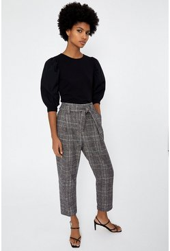 Brown Check Peg Trousers