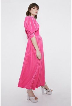 Pink Puff Sleeve Velvet Dress