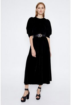 Black Puff Sleeve Velvet Dress