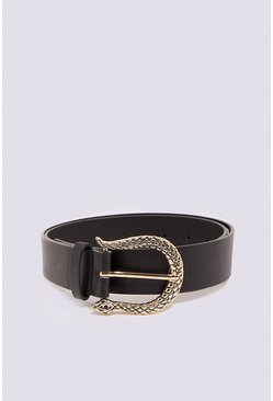 Black Textured Gold Buckle Belt