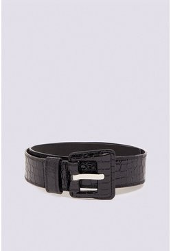 Black Square Buckle Croc Belt