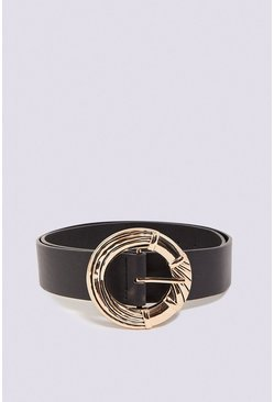 Black Round Gold Buckle Belt