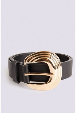 Gold Grooved Buckle Belt