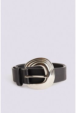 Silver Grooved Buckle Belt