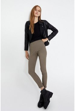 Beige Check Skinny Trousers
