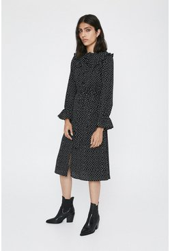 Black Frill Collar Spot Print Shirt Dress