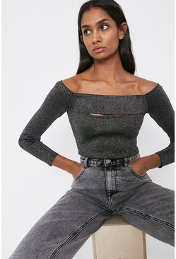 Black Knitted Sparkle Rib Bardot Peep Hole Top
