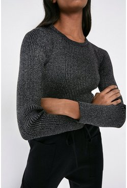 Black Knitted Sparkle Rib Long Sleeve Crew Neck Top