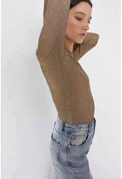 Gold Knitted Sparkle Rib Long Sleeve Crew Neck Top