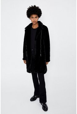 Black Longline Shearling Biker Jacket