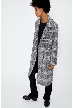 Grey Check Double Breasted Formal Coat