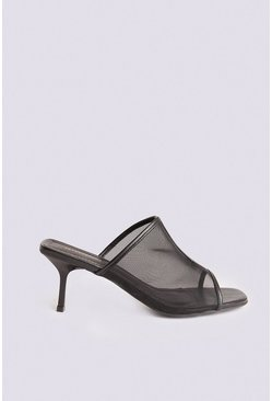 Black Mesh Slip On Sandal