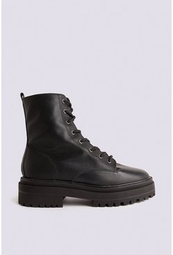 Black Lace Up Biker Boot
