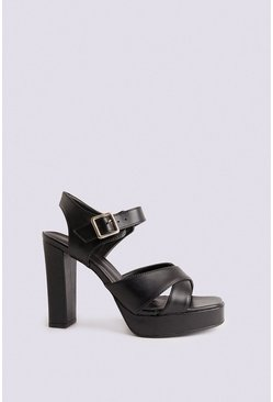 Black Cross Over Platform Heel